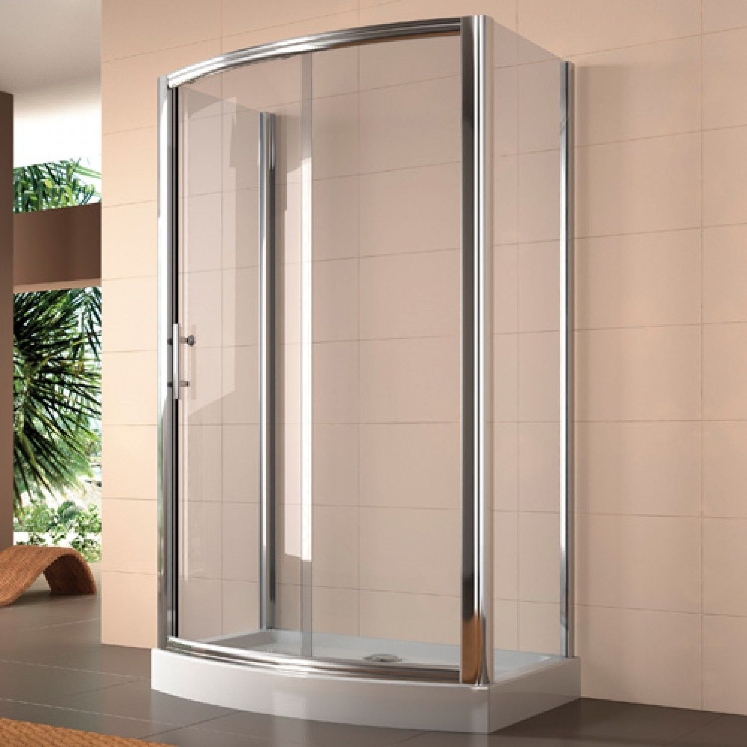 48 X 34 Rectangular Freestanding Shower Enclosure With Curved