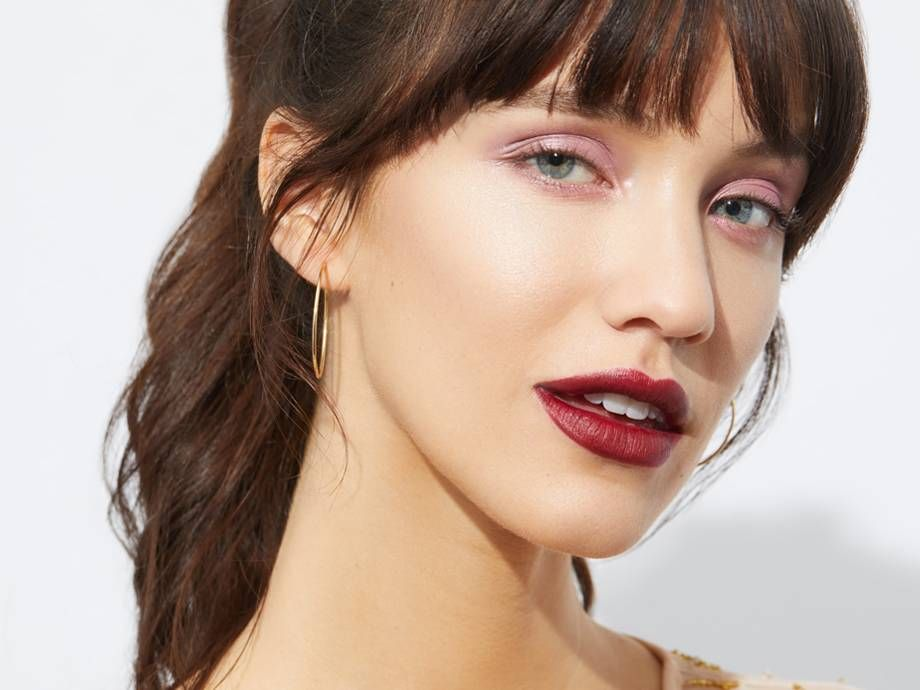 How To Wear A Pink Eyeshadow And Red Lipstick Growing Out Bangs