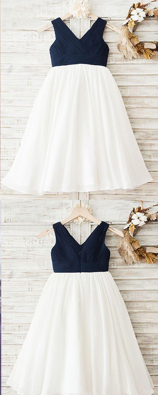 A Line V Neck Tea Length Navy Blue Empire Chiffon Flower Girl Dress