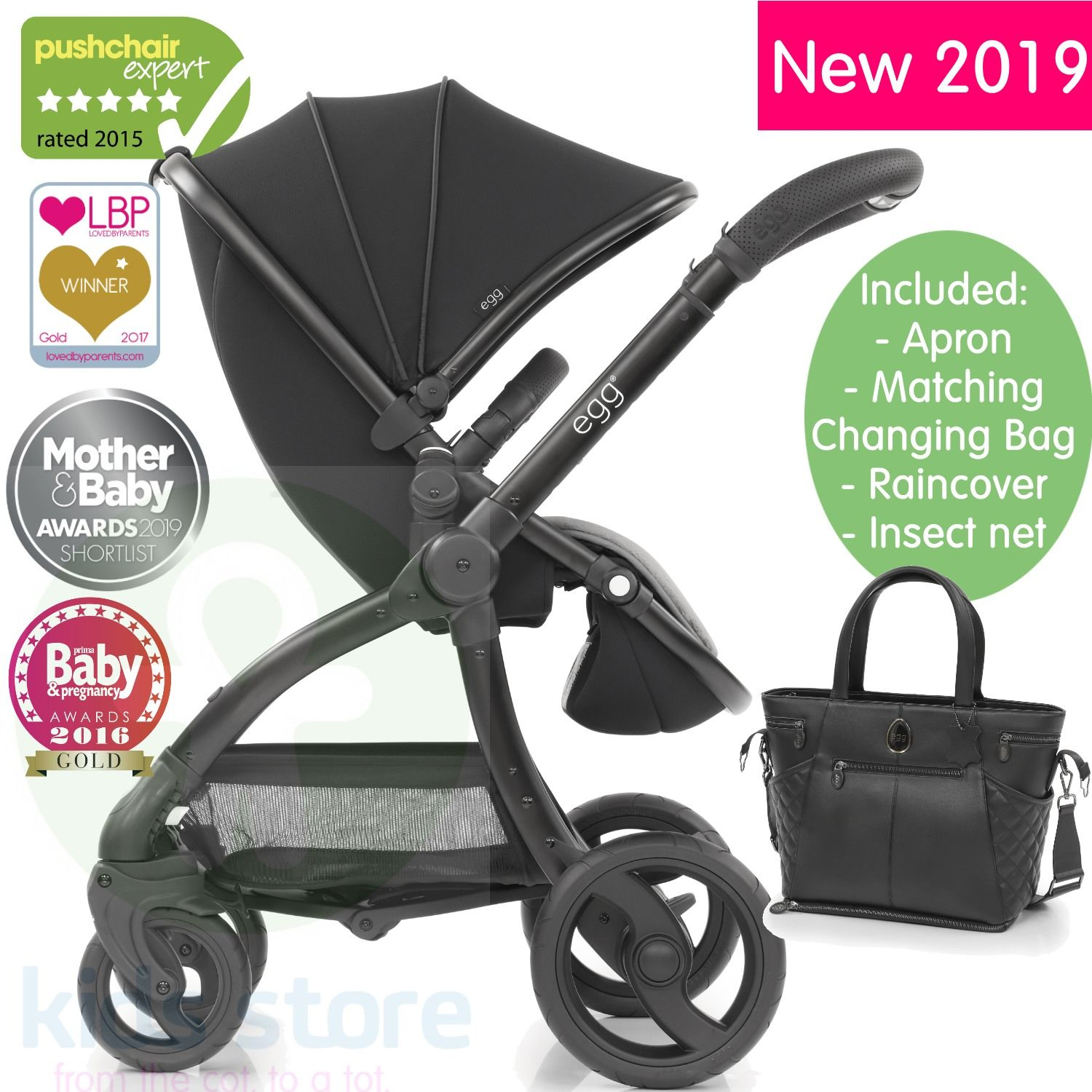 Egg Pram Gunmetal Egg Just Black Special Edition Stroller With Matching