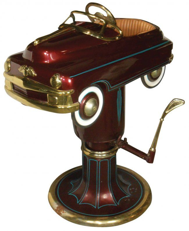 Child's barber chair w/Murray pedal car, maroon & gold : Lot 221