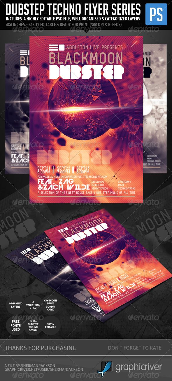 Techno Dubstep Rave Club Flyer The flyer, Portal and The features - club flyer background