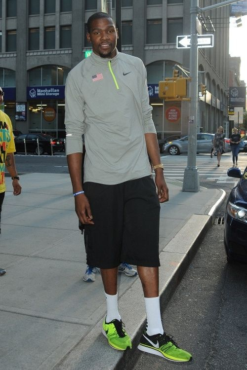 963ff4aba9345 Kevin Durant in the Nike Flyknit Trainer+ Volt Black