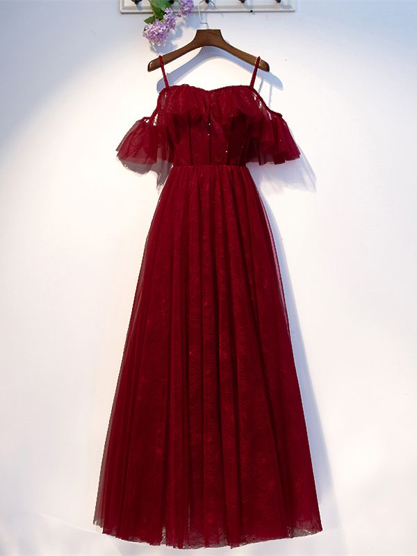 Elegante A Linie Abendkleid Brautkleid Lang Rot Tüll ...