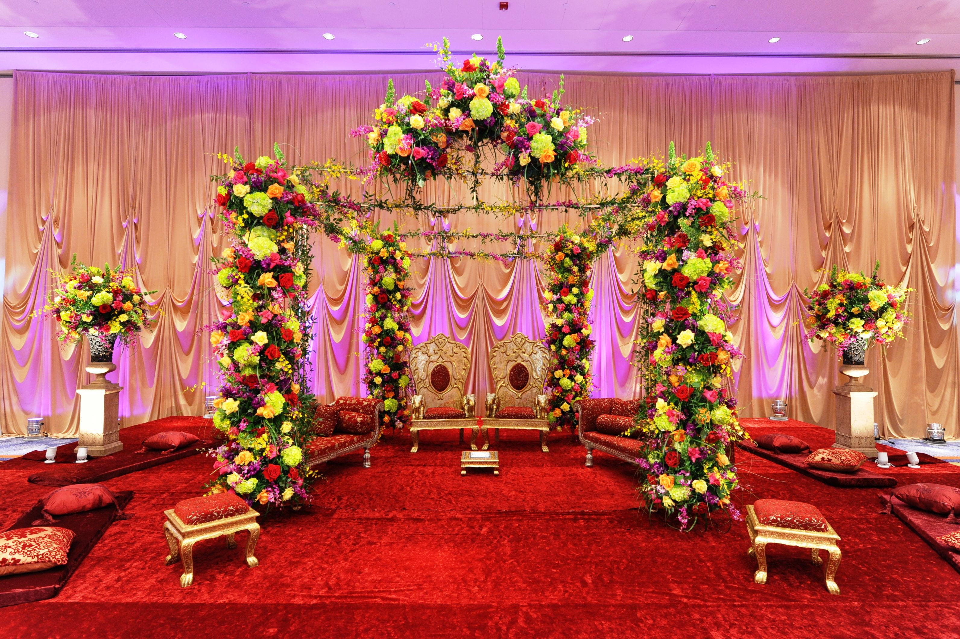 Close up of an all floral madap design. With low ceremony ...