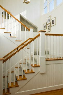 Best Simple White Square Balusters With Natural Wood Railing 400 x 300