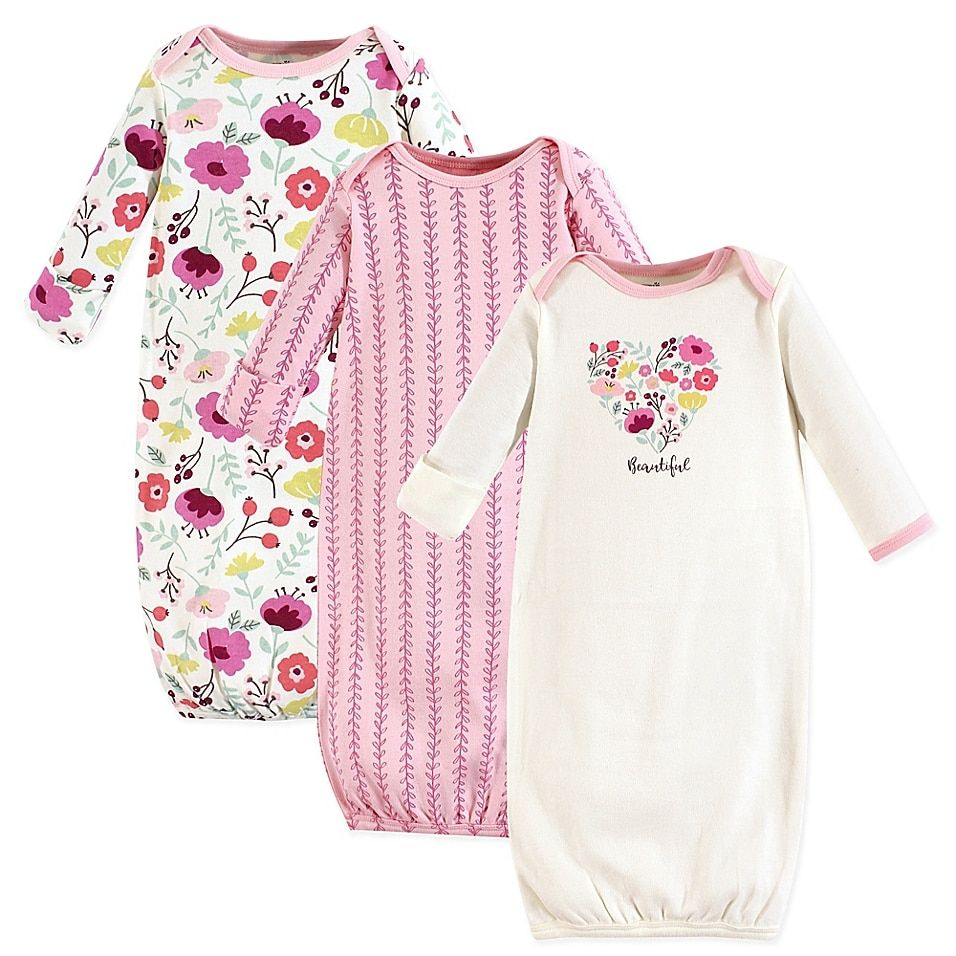 Touched By Nature Size 0-6M 3-Pack Botanical Organic Cotton Gowns In Pink