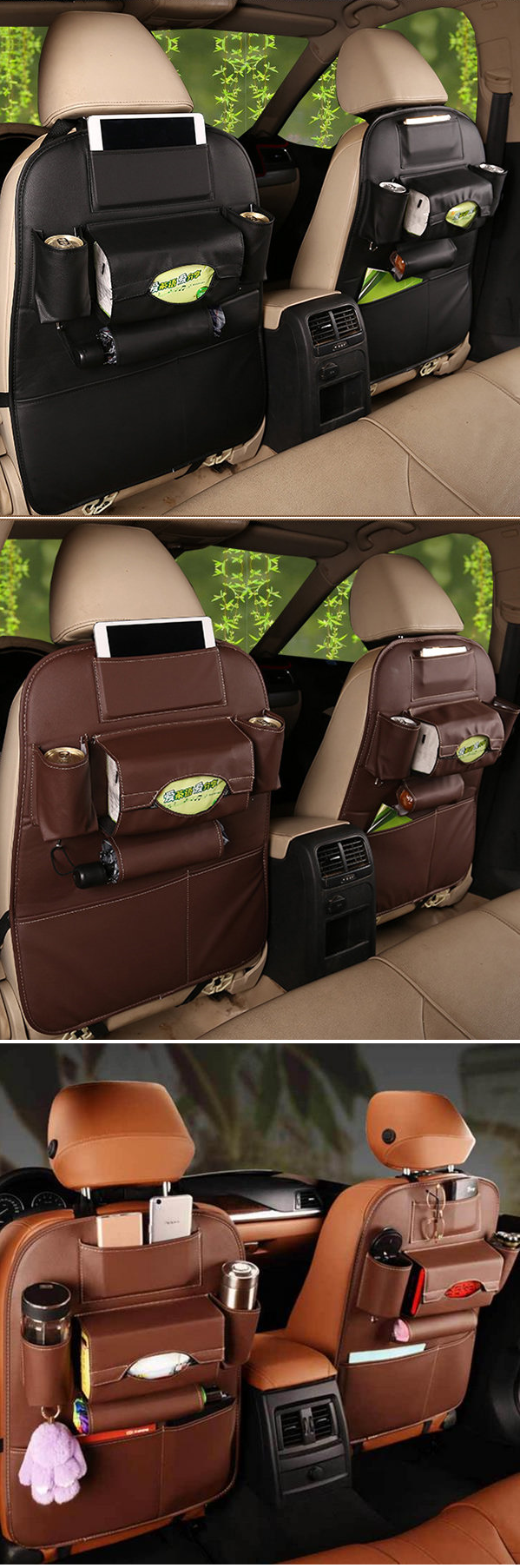 e02b4241f88 US$19.99 5 Styles Leather Car Storage Bag Multi-compartment Car Seat Storage  Container Outdoors Hanging Bag