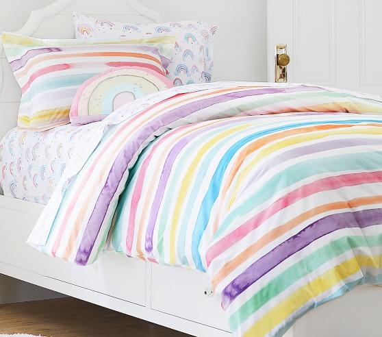 Organic Kayla Rainbow Stripe Duvet Cover Girls Rainbow Bedroom Kids Duvet Cover Rainbow Room Kids