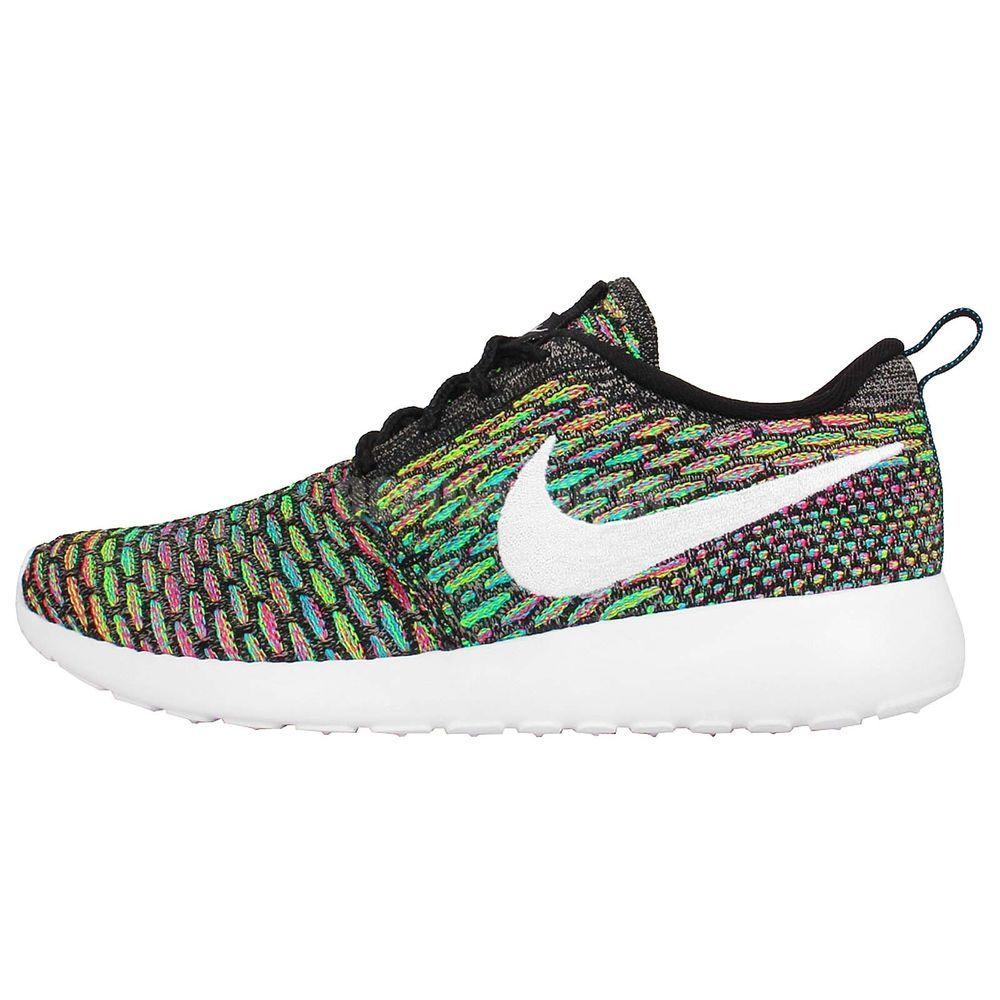 Womens Wmns Nike Rosherun Flyknit Roshe Run Multi Color Rainbow Running  Shoes