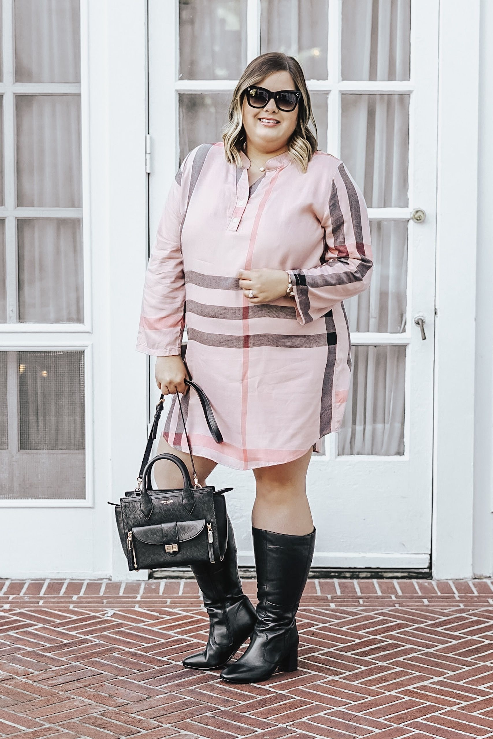 2a3bed4d8d1 Perfect Plus Size Plaid Shirt Dress For Fall from Amaryllis boutique.  Burberry knock off plaid shirt dress.  plussizefashion  plussize   plussizeclothing ...