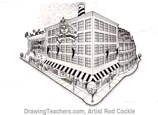 Draw Building in 2-point Perspective step by step with