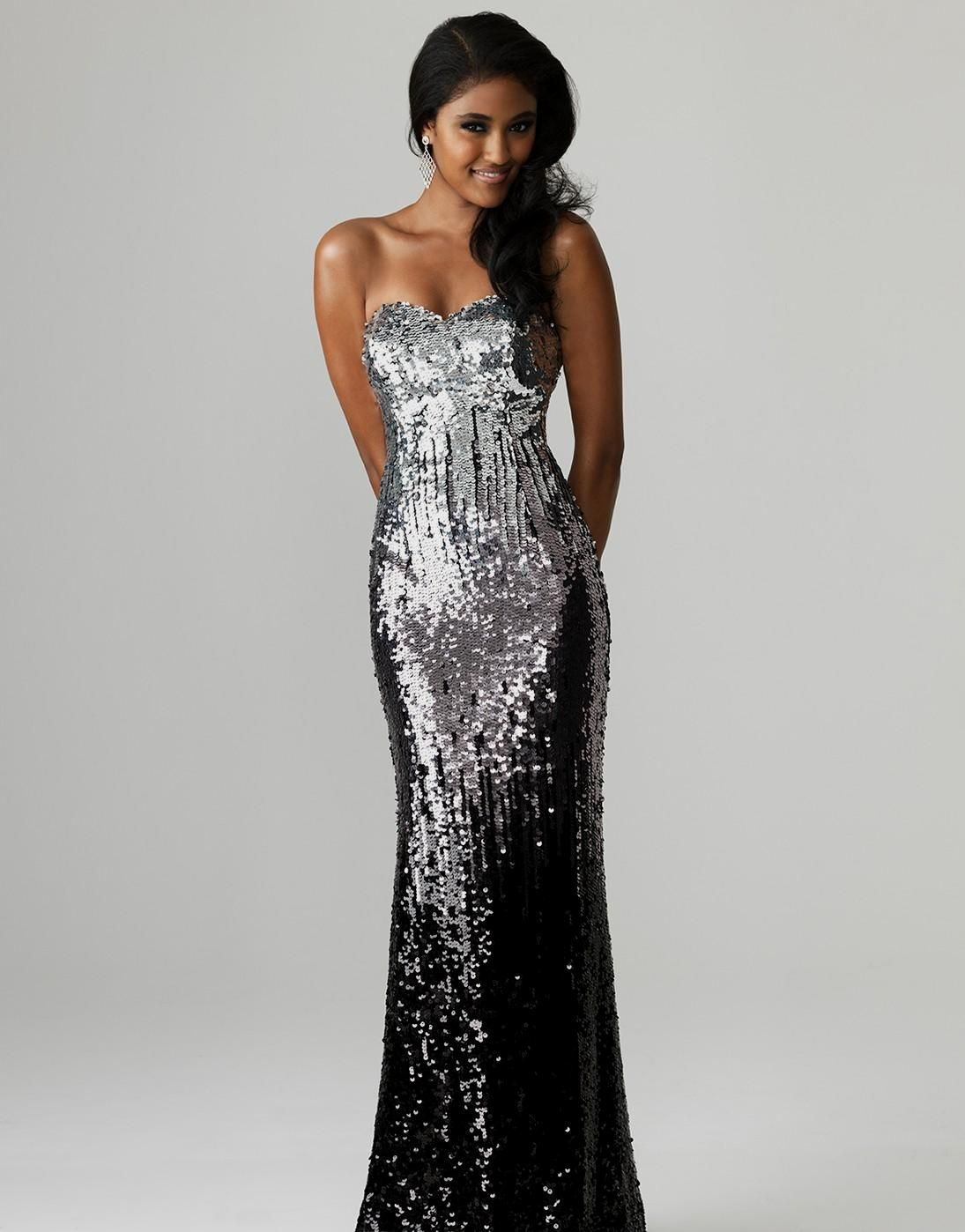 Silver and black ombre prom dress | Vegas | Pinterest
