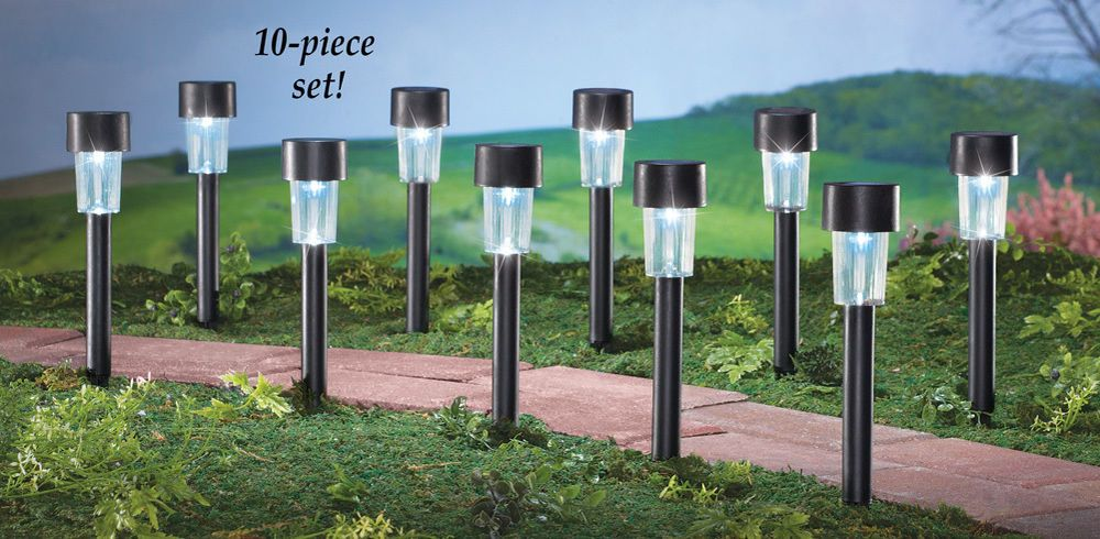 Solar Pathway Lights Set Of 10 1 3 4 D X 12 H Outdoor Yard Lawn Decor Solar Pathway Lights Outdoor Garden Lighting Outdoor Solar Lights