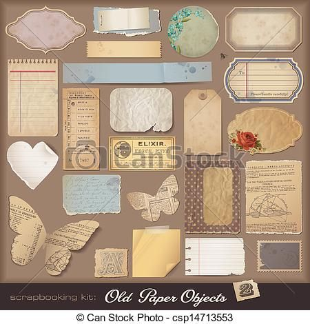 vector digital scrapbooking kit old paper stock illustration rh pinterest com digital scrapbook clipart free Digital Scrapbooking School
