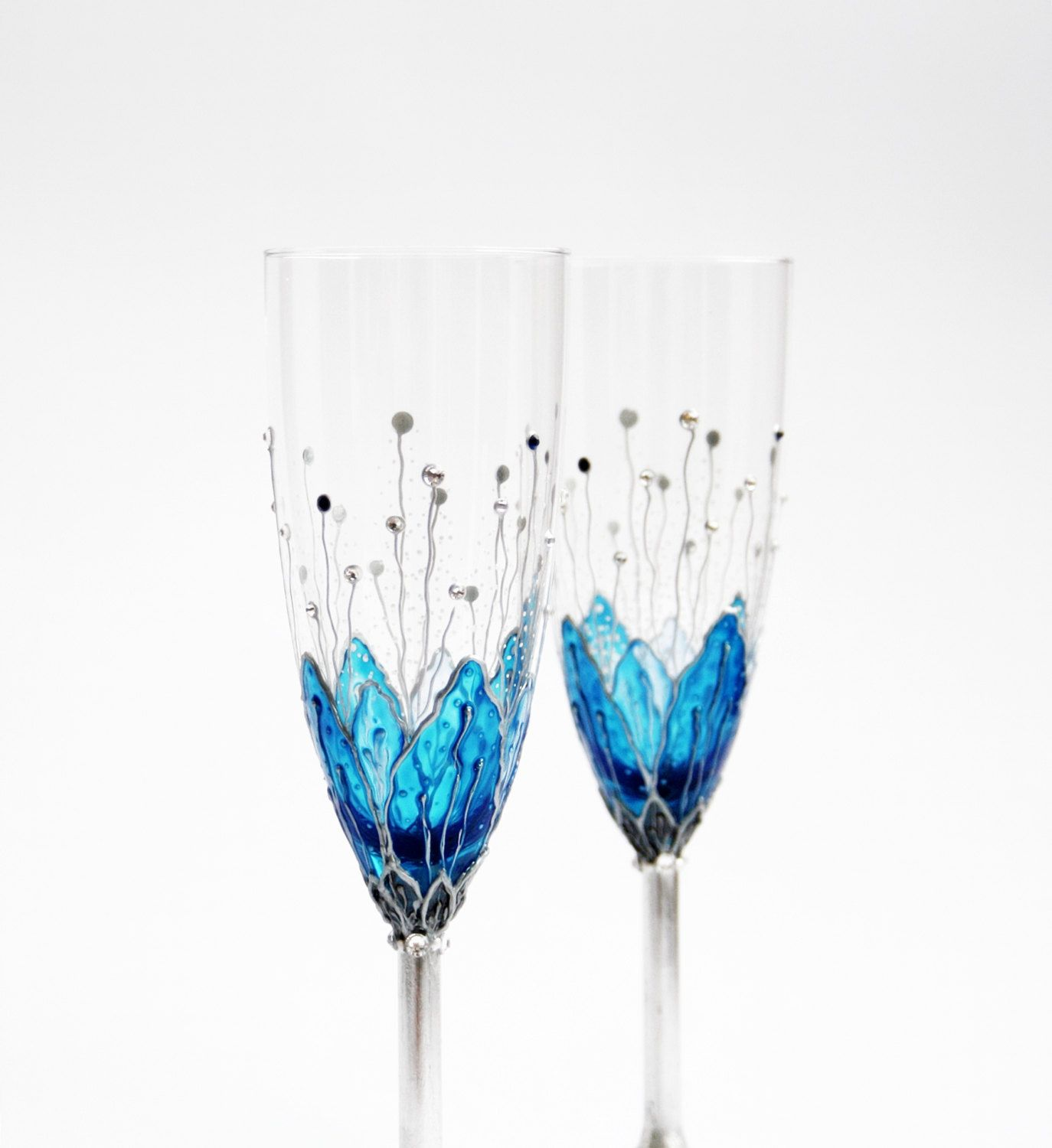 Hand Painted Flutes Toasting Champagne Wedding Anniversary Blue Flowers Silver Plated Swarovski Crystals Set of 2. $49.80, via Etsy.