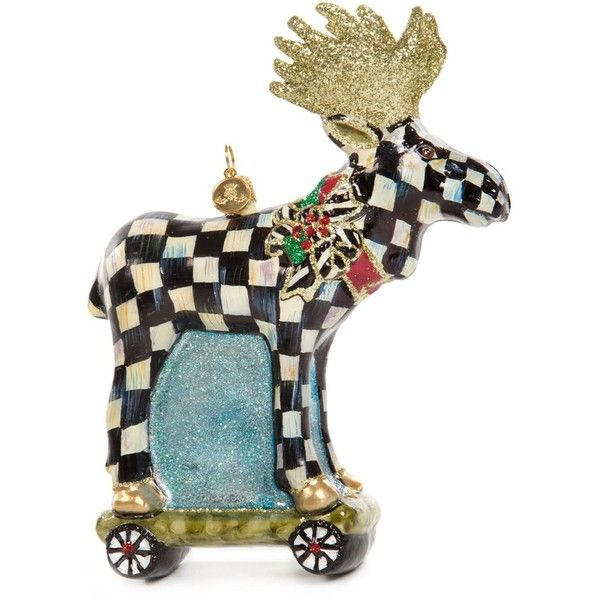 mackenzie childs moose on parade decoration 145 liked on polyvore featuring home home decor black and white home decor glass home decor christmas - Christmas Moose Home Decor
