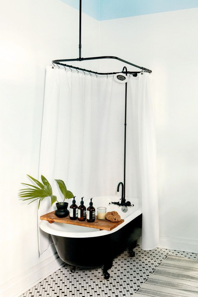 A Bath tray that doubles as decor. So simple so clean and so ...