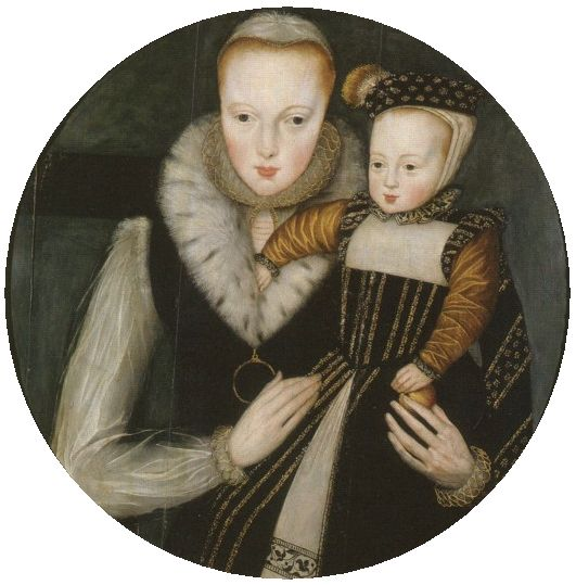 Lady Catherine Grey (25 August 1540 – 26 January 1568), Countess of Hertford & her son Edward Seymour, future Lord Beauchamp of Hache.