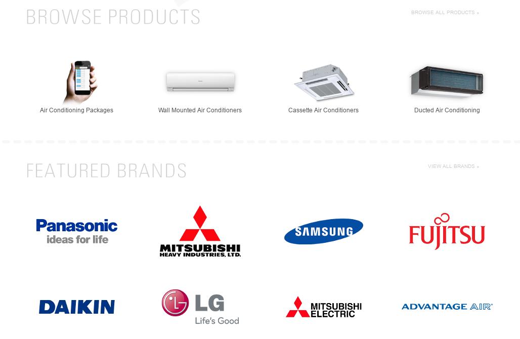 Daikin, Panasonic, Fujitsu, LG, and Mitsubishi Air