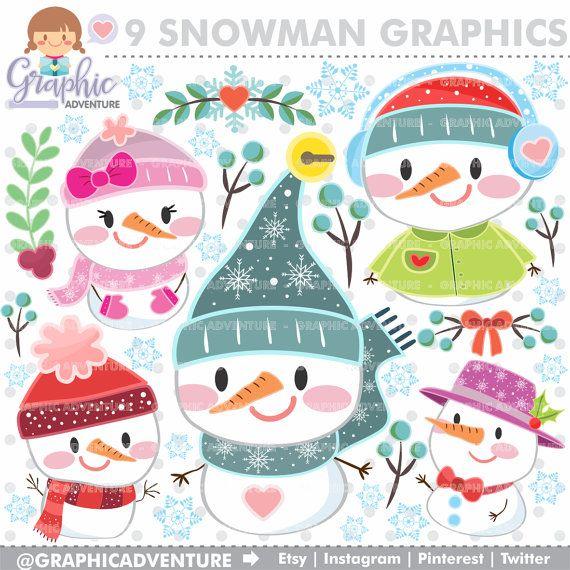 Christmas Clipart, Christmas Graphics, COMMERCIAL USE, Kawaii