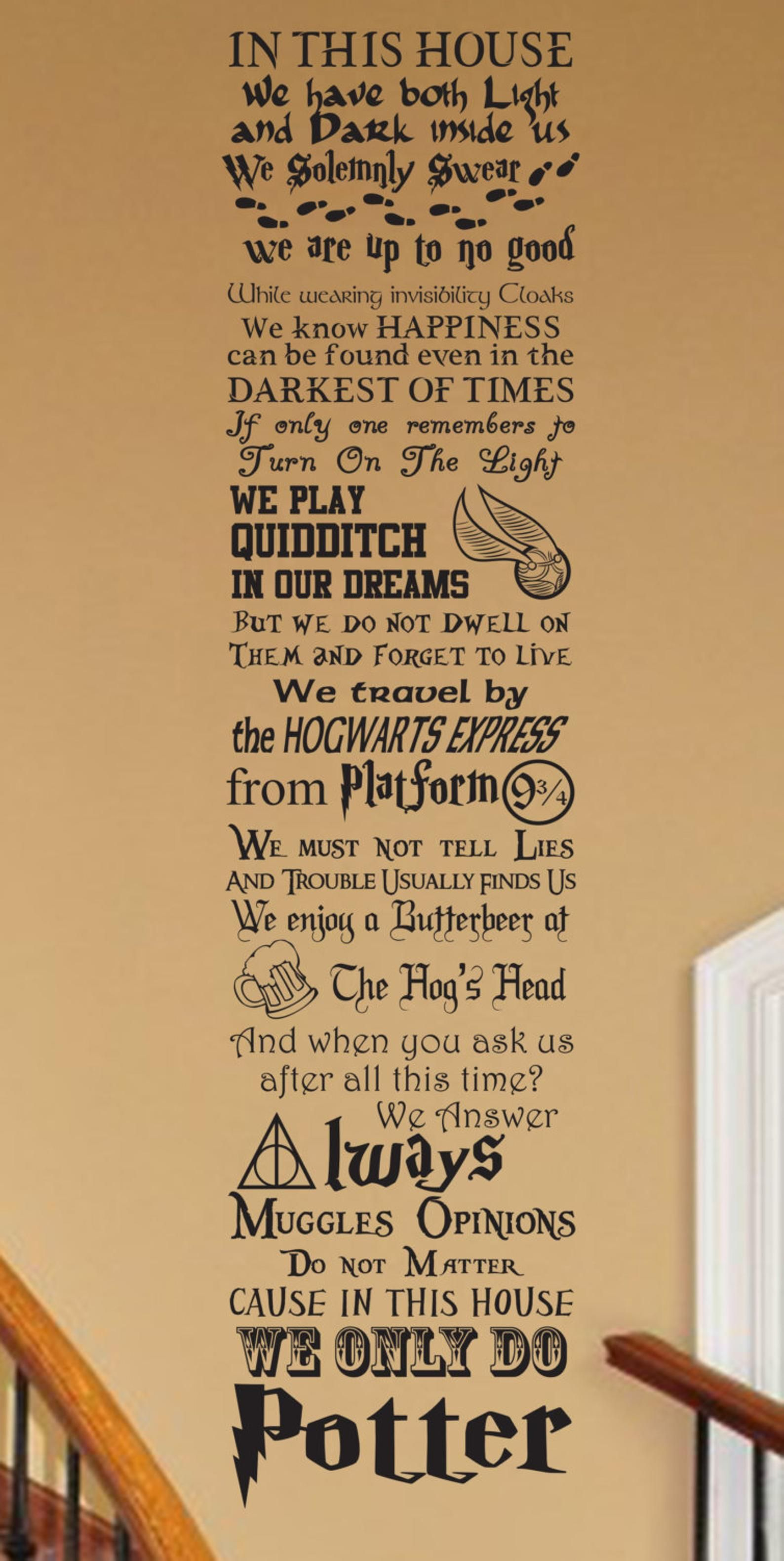 Wizardry In This House CUSTOMIZABLE Vinyl wall Decal V1 fantastic geekery magic quote fandom fantasy storybook wizard always swear nursery
