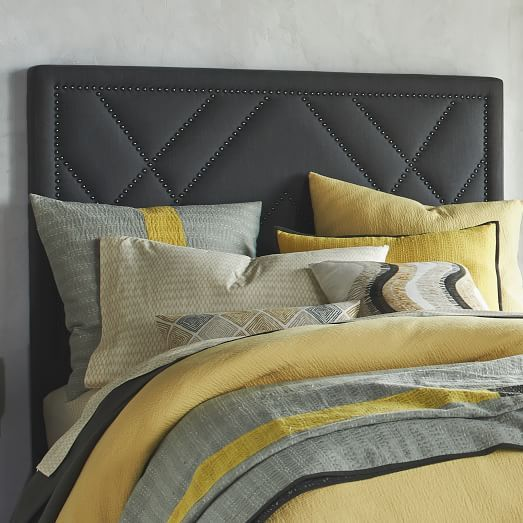 But In Beige Patterned Nailhead Headboard Upholstered