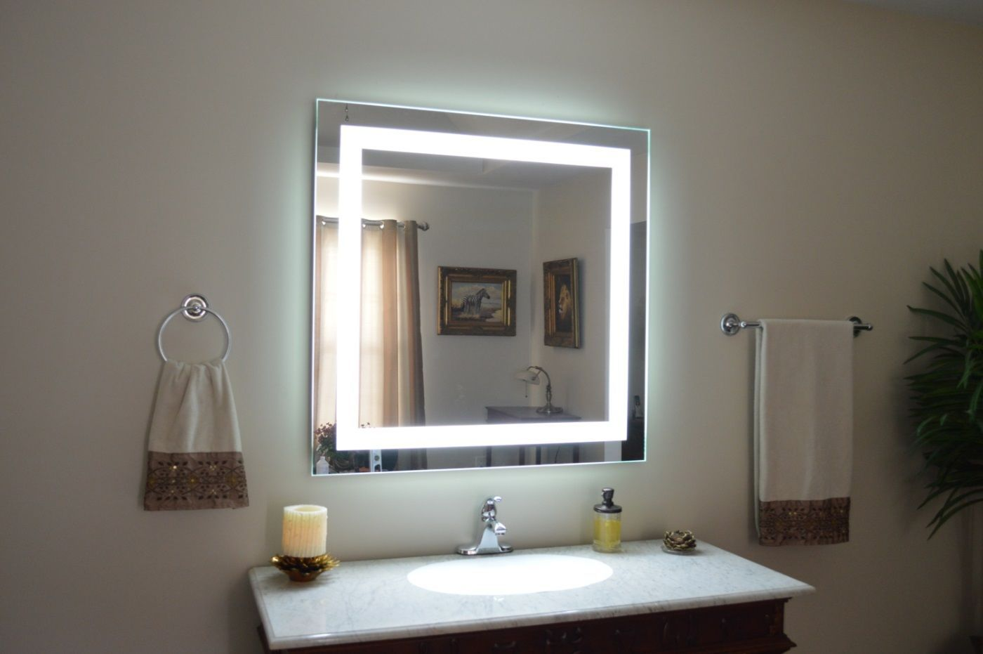 Awesome Websites  Excellent Lighted Vanity Mirrors For Bathroom Image Ideas