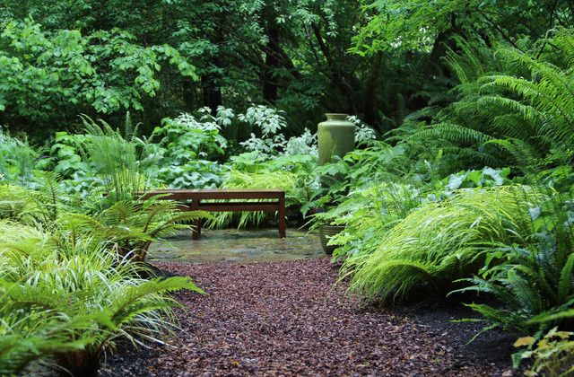 Shade Garden Design Ideas small shade garden astilbes fuchsias hostas creeping jenny Bliss Garden Design Lytle Road Bainbridge Island Shaded Creek Contemporary Fern Garden