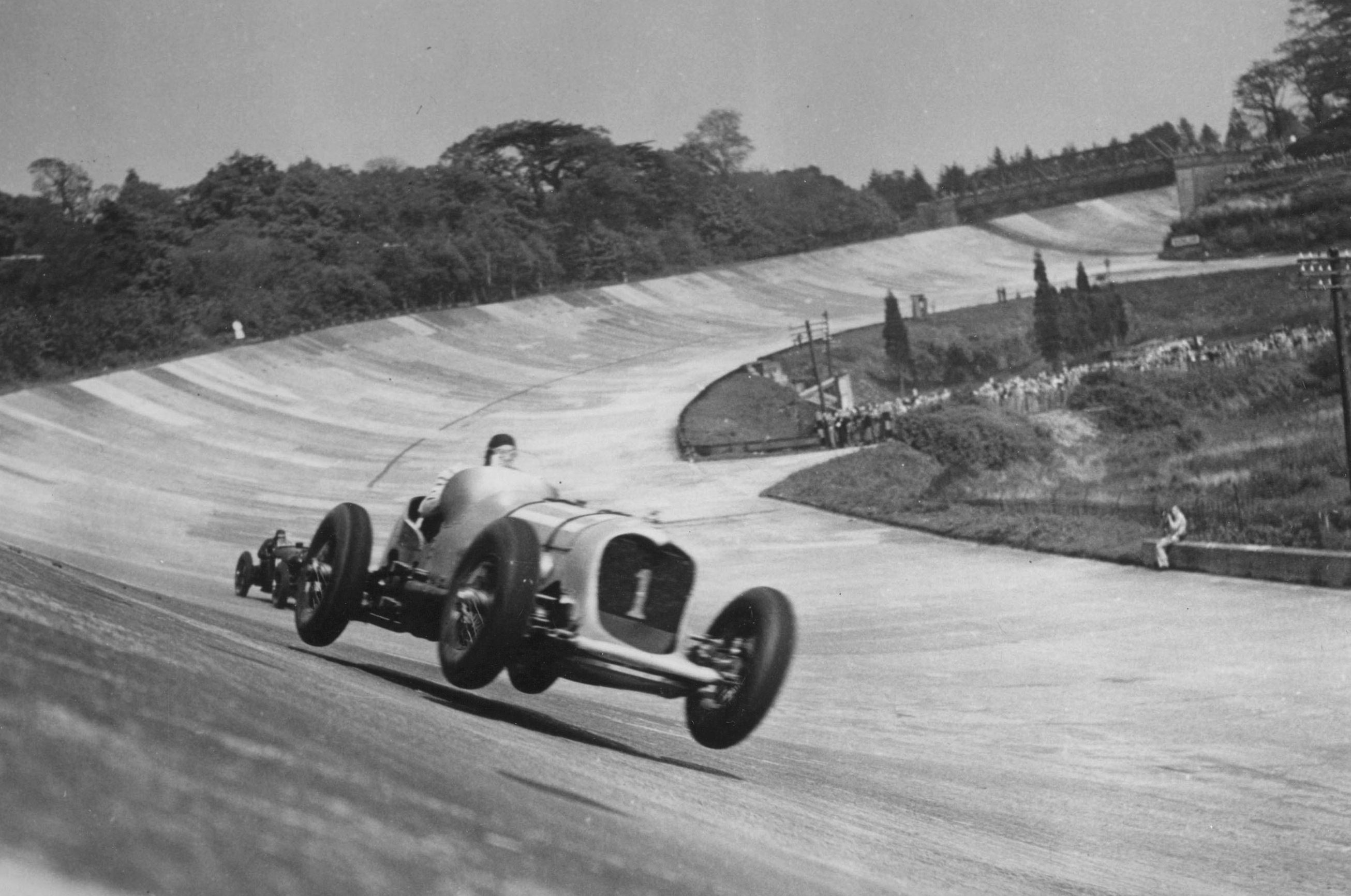 The first purpose-built racing circuit, Brooklands in Surrey, UK is ...