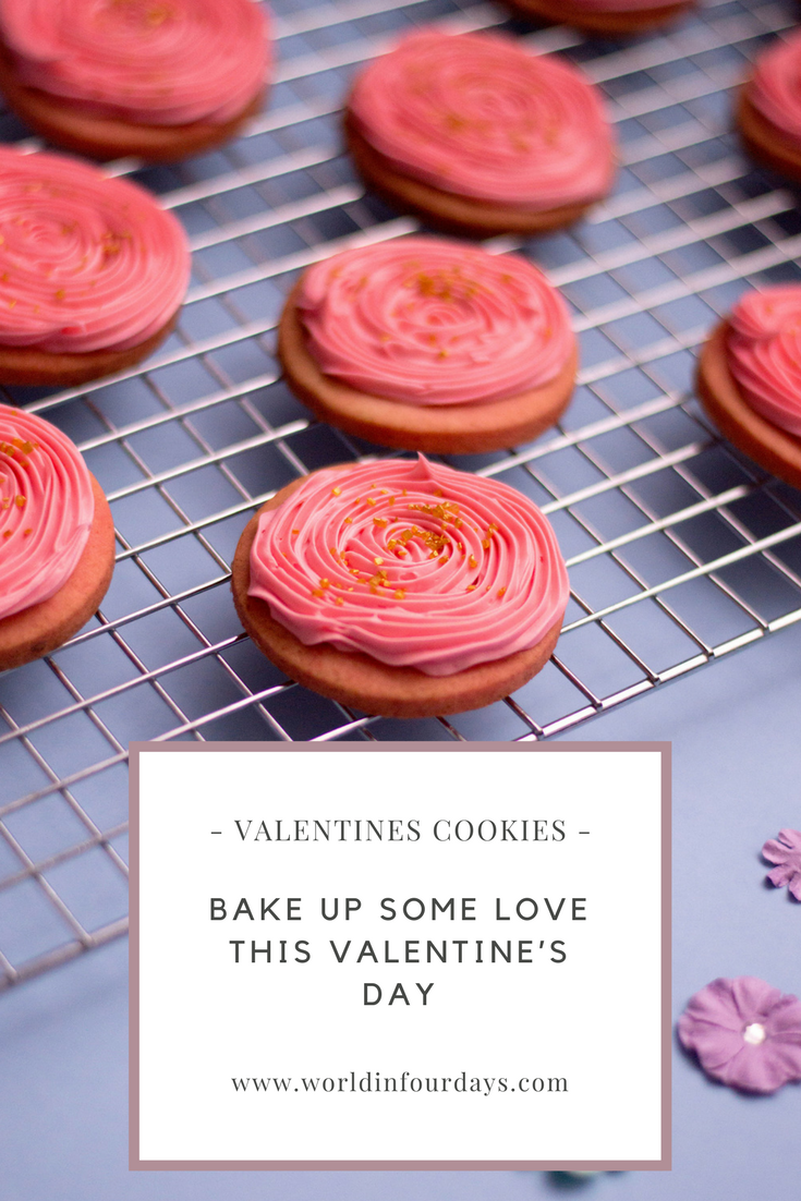 Pink and gold frosted valentines sugar cookie recipe. Cookies Recipes, Cookies recipes Easy, Sugar cookies, cookies from scratch, valentines day cookies,