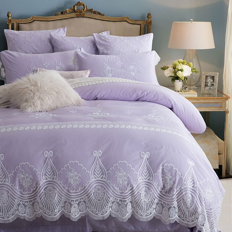 Marvelous Light Purple Lace Embroidered Bedding Set Princess Romantic Duvet Cover  Bedding Pillowcases Coverlet Queen King Size
