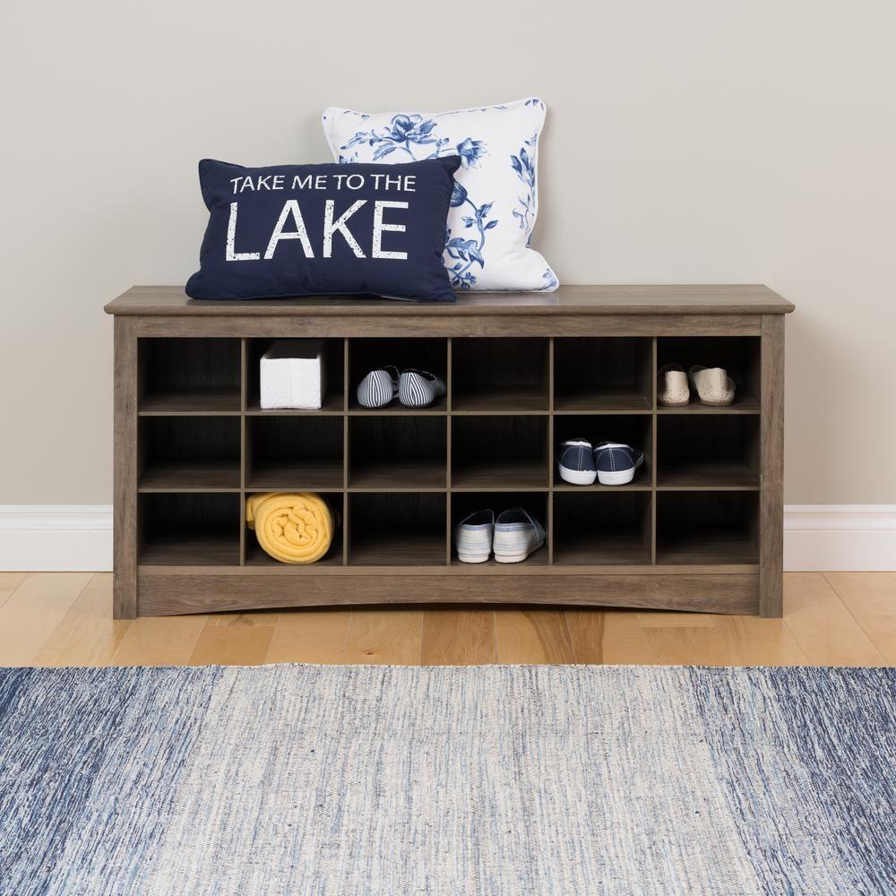 Hallway furniture shoe storage  Prepac  in W x  in H Drifted Gray Cube Organizer in