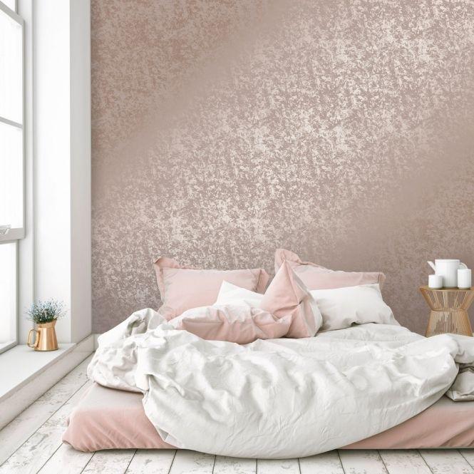 Crushed Velvet Metallic Wallpaper Rose Gold Pink Wallpaper Bedroom Gold Wallpaper Bedroom Velvet Bedroom