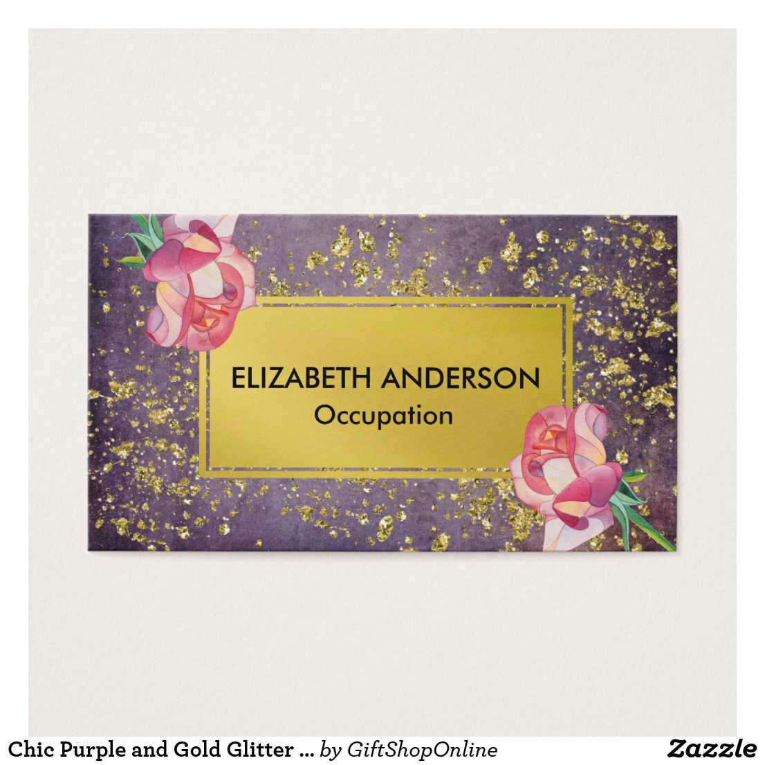 Chic Purple and Gold Glitter Rose Business Card | Gold glitter