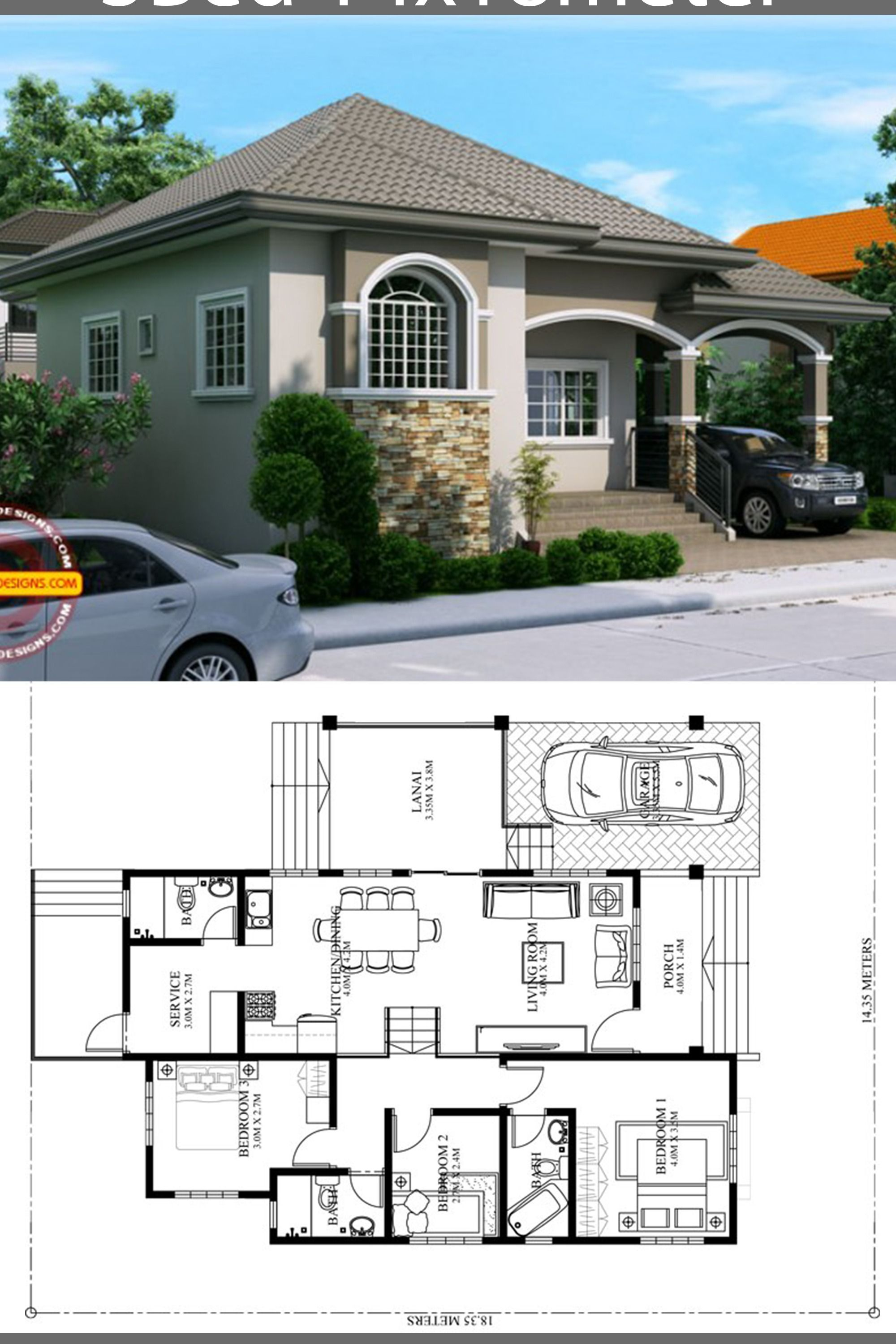 Pin By Farani Rani On Bungalow House Design Bungalow House Design Philippines House Design Bungalow House Floor Plans