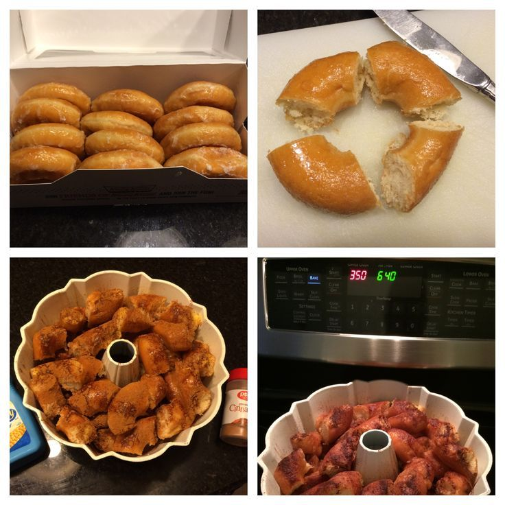Monkey Bread from donuts! Great way to use stale or frozen donuts. Just spritz w...   - Food -