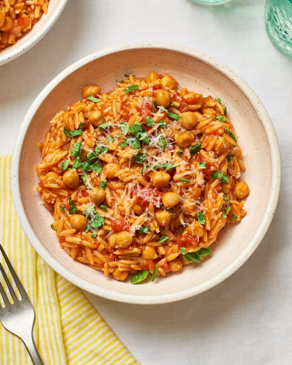 One Pot Tomato Chickpeas And Orzo