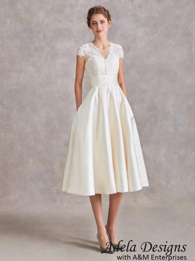 Satin Short Wedding Dress Bridal Gown Tea Length Lace Midi Etsy In 2021 Short Wedding Dress Short Wedding Gowns Off White Wedding Dresses [ 1059 x 794 Pixel ]