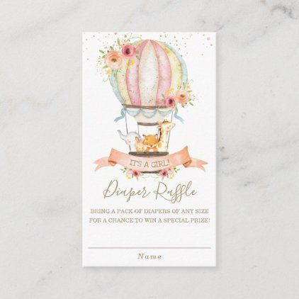 Floral Hot Air Balloon Baby Animals Diaper Raffle Enclosure Card | Zazzle.com