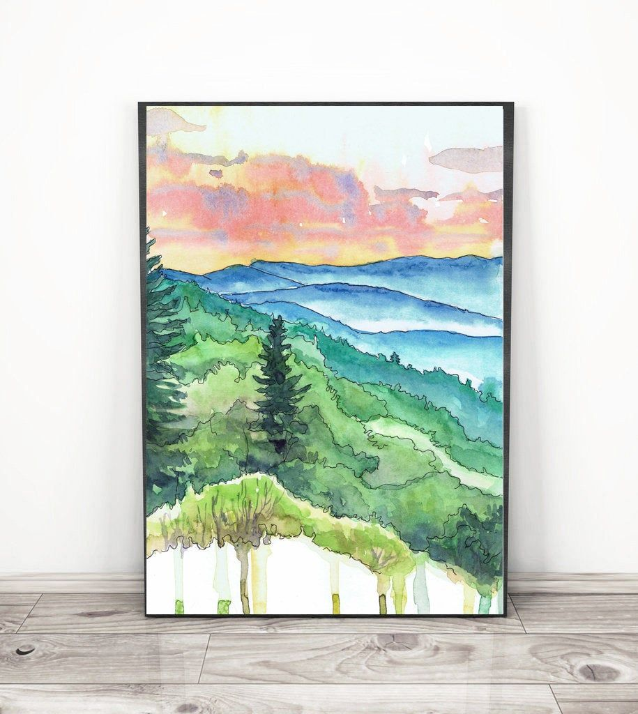 Great Smoky Mountains National Park Poster Travel Art Print