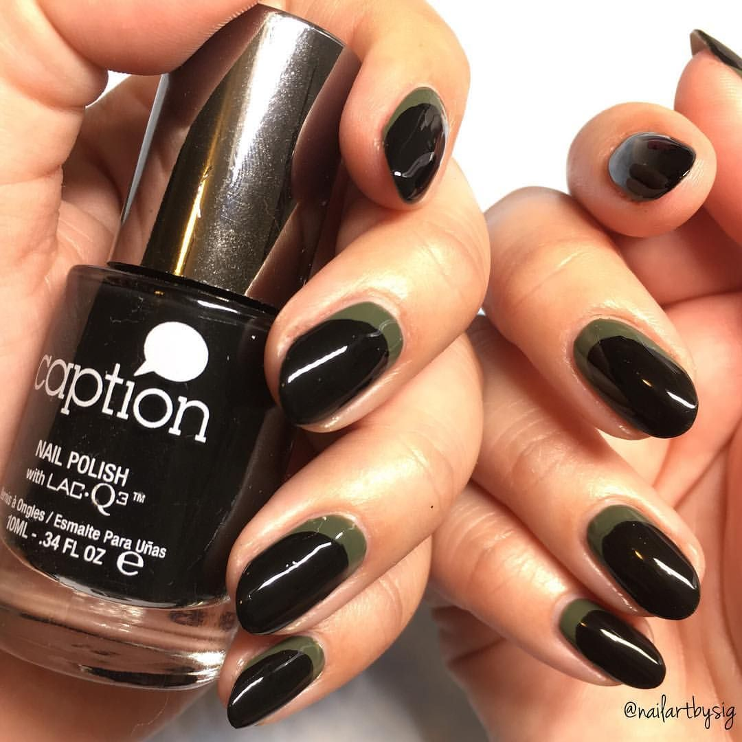 Olive w Black moon stamp, fill in w black | Nail Inspo: FALL ...