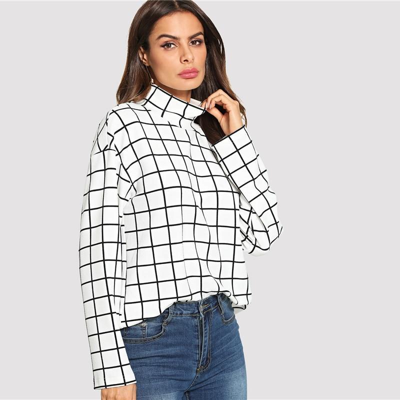 1d35b97b Black and White High Neck Plaid Grid Print Shirts in 2019   Blouses ...