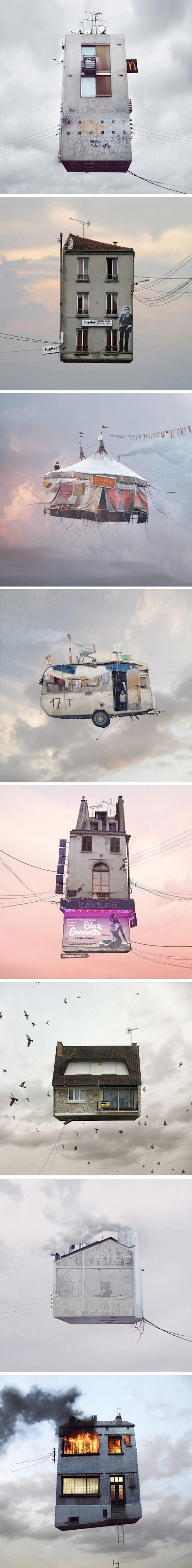 Flying houses art