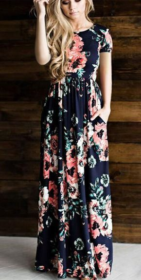 efdbbb748ce 4.20] Women's Floral Holiday Maxi Swing Dress - Floral Print Summer ...