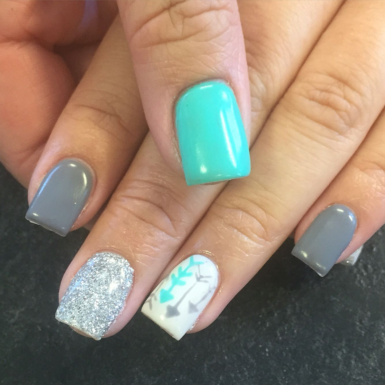 gel nails turquoise & grey