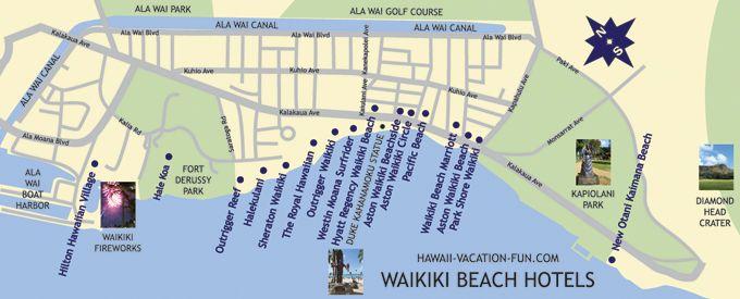 Map Of Waikiki Beach Hotels With Landmarks