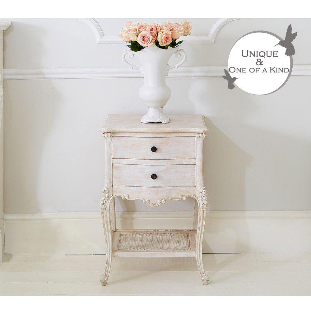 Vignette White Washed Bedside Table | Bedside Cabinet. French Bedroom  Cabinet.