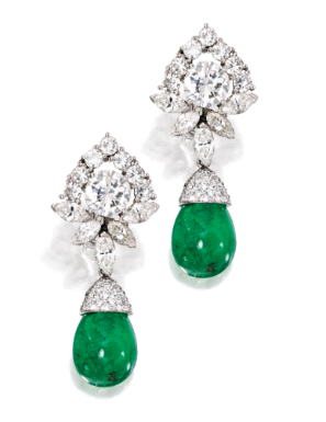 Pair of Platinum, Emerald and Diamond Earrings - Sotheby's
