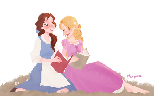 Belle and Rapunzel - Disney Princess Fan Art (38418906) - Fanpop